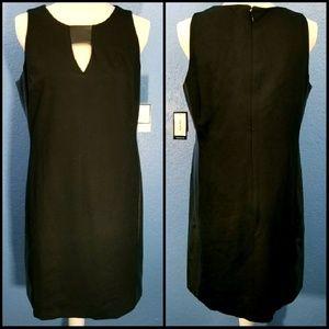 583c5c37d49 Nine West Dresses -  Nine West  Faux Leather Contrast Black Dress 8
